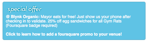 example foursquare promo
