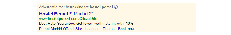Persal promotes price guarantee in AdWords ads