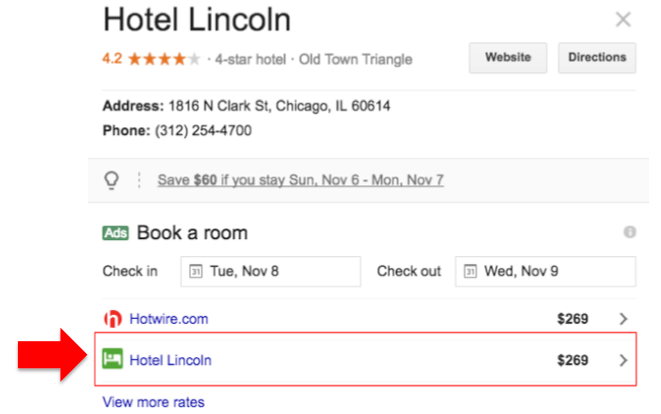 hotel direct prices at google hotel ads