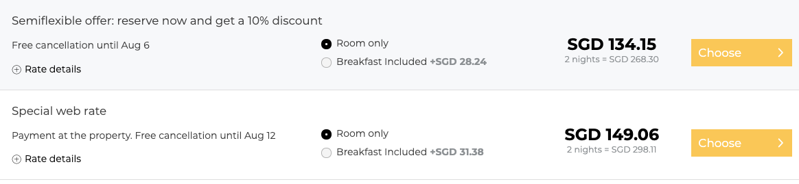 rate in SGD