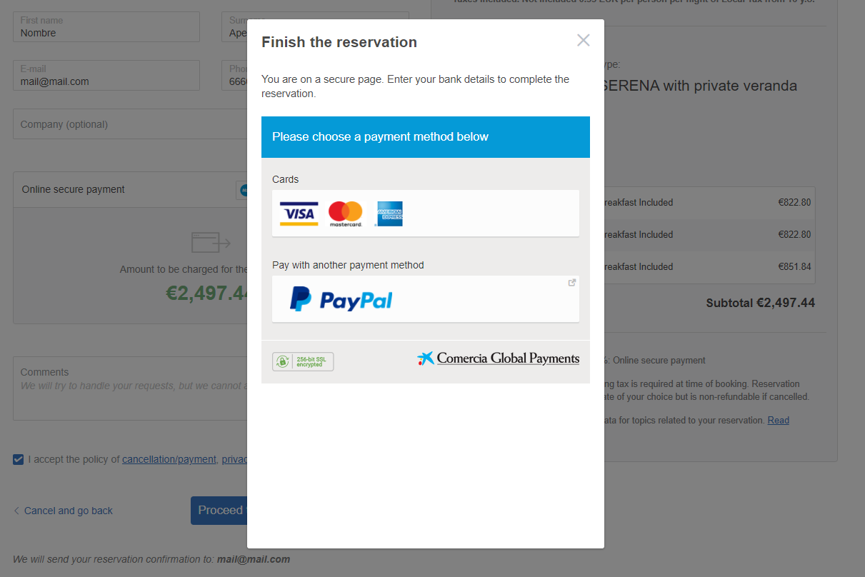 Iframe payment - reservation proccess